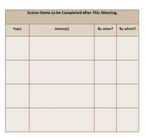 Action Items Chart
