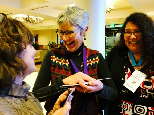 Mary Flanagan (middle) speaking with participants Bev Scow (right) and Melanie Goodman at annual USA ToP gathering.